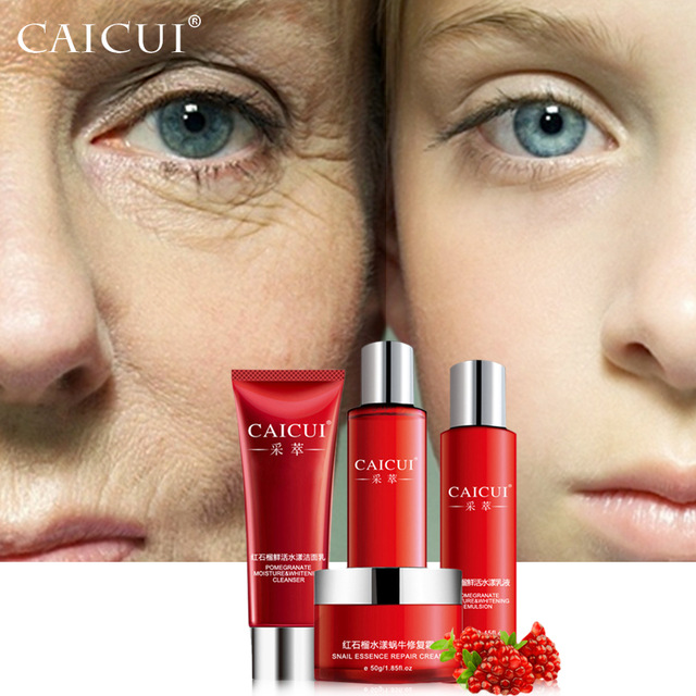 CAICUI skin care set foam cleanser face toner emulsion snail whitening moist anti wrinkle beauty cosmetic sets face care graymelin smiley tonight snail nutry emulsion