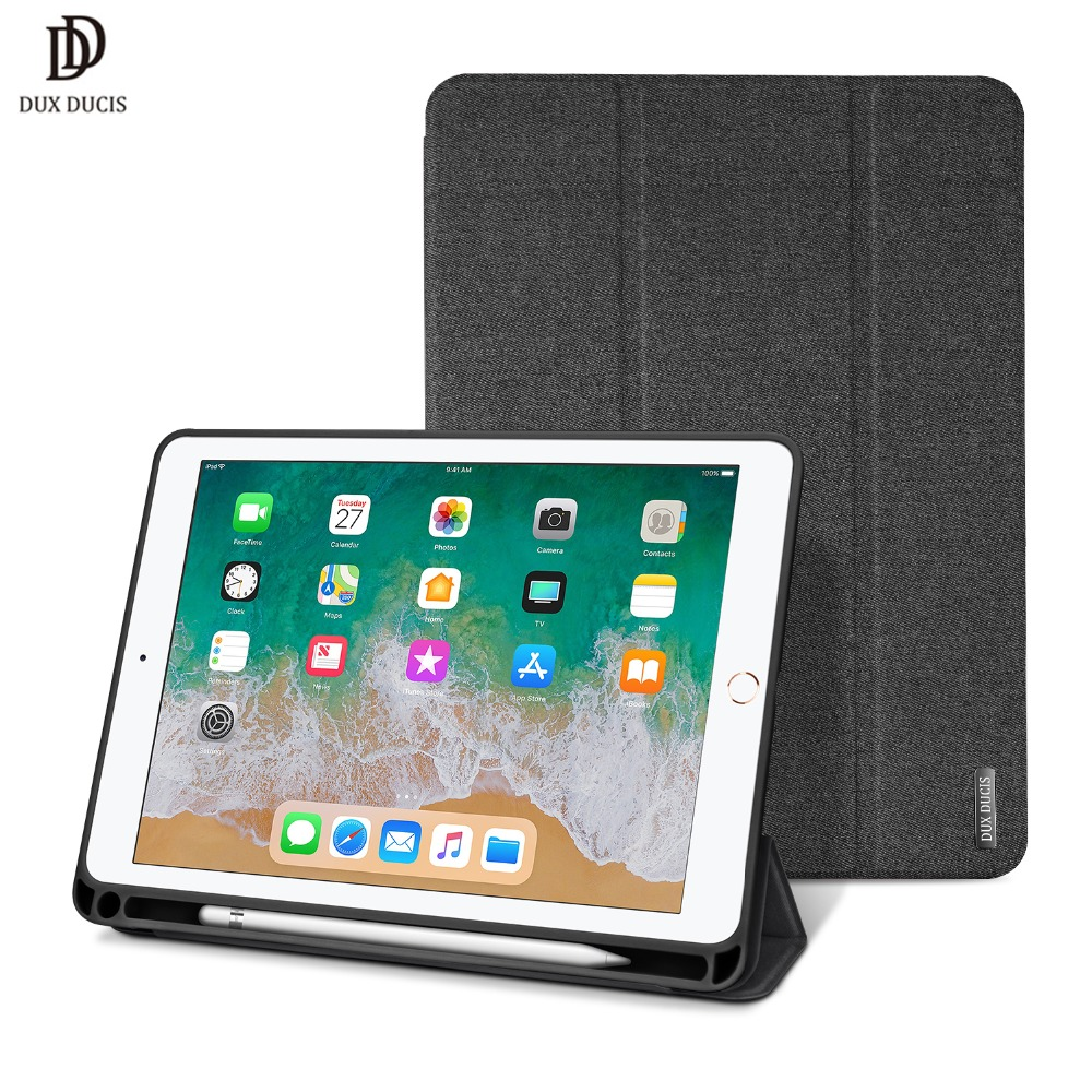 DUX DUCIS Smart Case For iPad 9.7 2018 Stand Leather Flip Cover for iPad 9.7 inch 2018 2017 with Pencil Holder Coque Auto Sleep