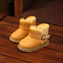 2016 New Winter for child kid girl boy snow boots comfort thick antislip short boots elastic band leather cotton-padded shoes