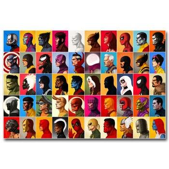 Шелковый плакат гобелен герои Марвел