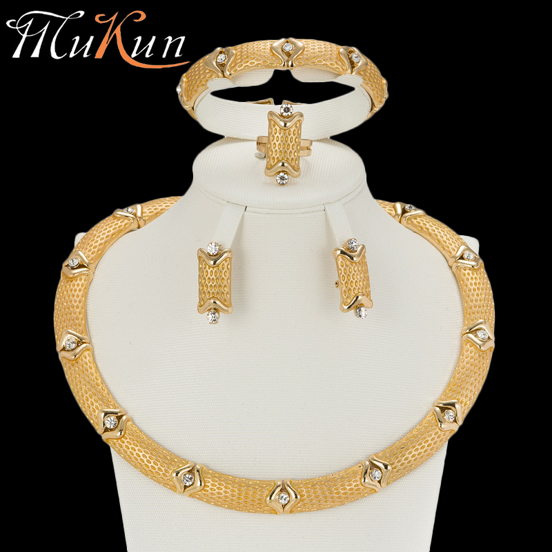 MuKun Women nigerian beads necklace jewelry set for wedding crystal dubai sets african party