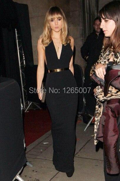 Deep V Neck Black Tight Slim Long Prom Dress Maxi Dress New Fashion