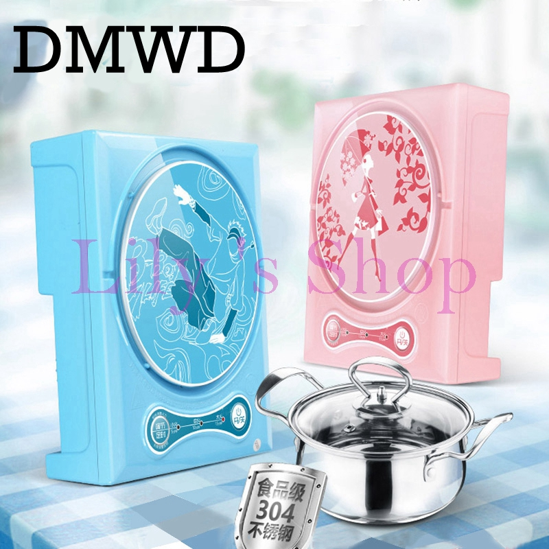 DMWD Household mini electric induction cooker portable hot pot plate stove dorm noodle water congee porridge heater office EU US stainless steel electric double ceramic stove hot plate heater multi cooking cooker appliances for kitchen 220 240v vde plug
