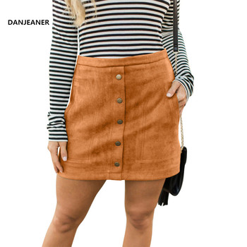DANJEANER Elegant Women Ladies Summer Skirts High Waist Single Breasted Solid Slim A-Line Suede Leather Mini Skirts Jupe Femme dabuwawa single breasted solid pocket patched skirts women high waist office ladies casual slim fit a line skirt d18bsk005