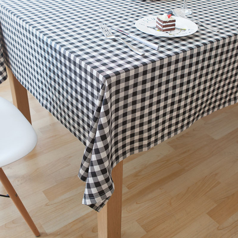 Linen Table Cloth Printed American Style Plaid Tablecloth Black