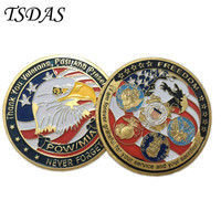 Wholesale U.S. Thank You Veterans,Past And Present Never Forget Souvenir Coin Brass Plated, Military Coins 2016 Gift
