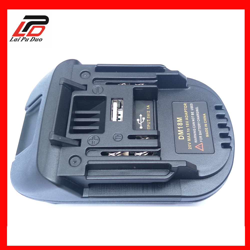 Battery <font><b>Adapter</b></font> DM18M for Dewalt 20V for <font><b>Makita</b></font> <font><b>18V</b></font> Lithium BL1830 BL1840 BL1850 14.4V- <font><b>18V</b></font> conversion image