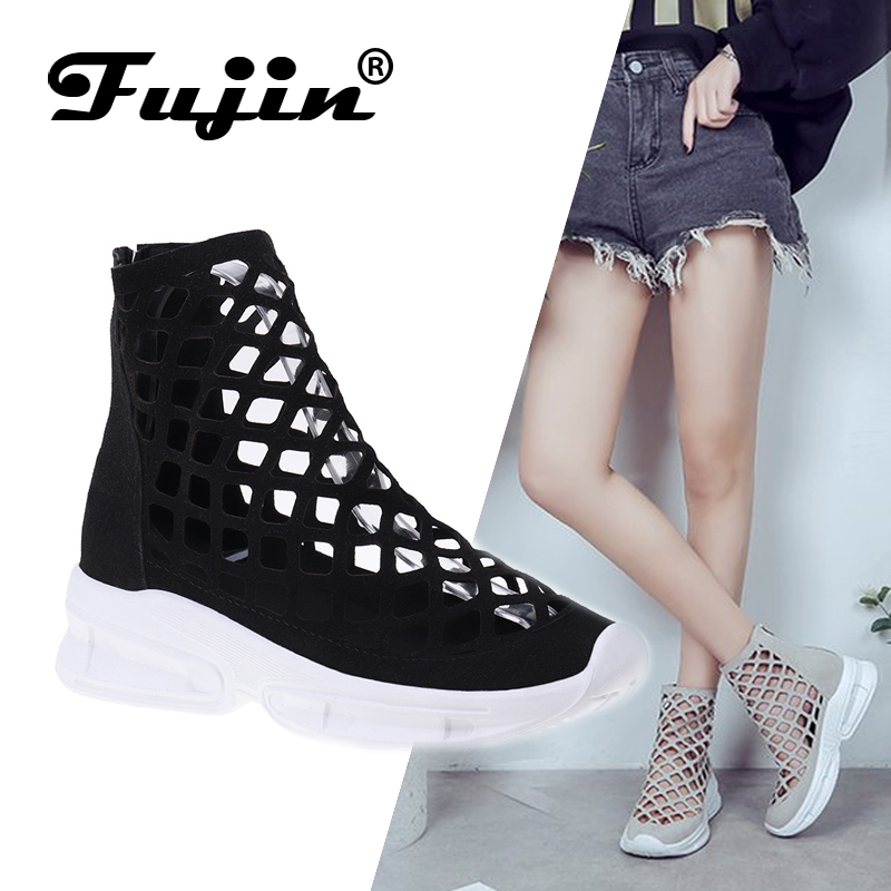Fujin Boots Solid-Shoes Female Breathable Summer Casual Fashion Ladies Zipper Hollow