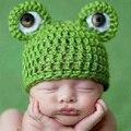 Bonito Dos Desenhos Animados Do Bebê Chapéus Handmade Crochet Knit Hat Cap Infantil Tampas Adereços Fotografia de Recém-nascidos Unisex Das Meninas Dos Meninos Da Criança Sapo Chapéus