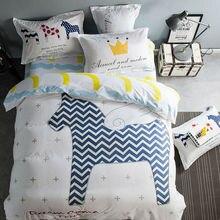 Мультфильм стиль наборы постельных принадлежностей симпатичные верховая pattern белье хлопок твин/одиночные/queen/king/двойной размер листов наборы