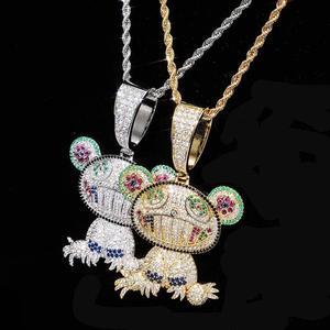 Image 5 - JINAO collier ours Animal pour bébé, pendentif avec chaîne de Tennis, en Zircon cubique glacé, brillant, style Hip Hop pour hommes, idée cadeau