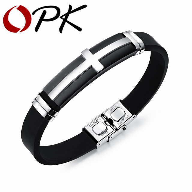 Opk Fashion Vintage Men Jewelry Bracelets Cross Design Silicone Charm Bangles For Man Adjule Cool Crucifix