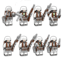 8pcs set Military Army Action Figures Compatible With LegoINGlys WW2 World War 2 Soldier Building Blocks