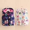 Baby girls doodle vest 2016 winter cartoon drawing print animals children's clothing child clip cotton kids vest outerwear