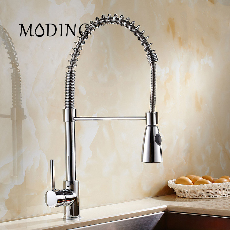 MODING Kitchen Faucet Promotion Luxury Chrome Brass Srping Style Vessel Mixer Tap Mutiple Function Swivel Spout #MD1B9009ADS led spout swivel spout kitchen faucet vessel sink mixer tap chrome finish solid brass free shipping hot sale