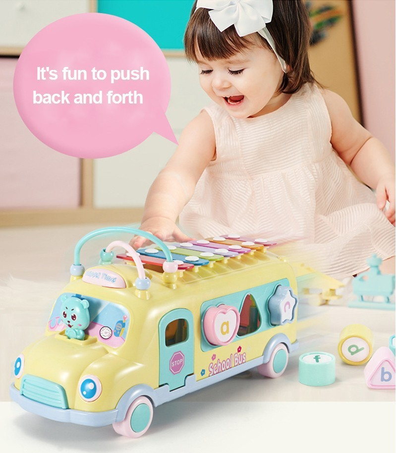 Caxx детский автобус стук фортепиано детские головоломки Beat Музыкальный барабан фортепиано стук инструменты игрушечный автобус Детские Ранние развивающие игрушки