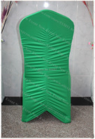 Green Color Ruffled Spandex Chair Cover/Lycra Chair Cover/Chair Sash/Lycra Band For Wedding Party Hotel Banquet Home Decorations