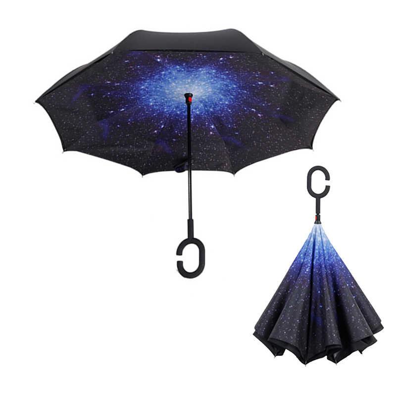 C ручкой ветронепроницаемый двухсторонний складной зонт человек для женщин Защита от солнца дождь автомобиль перевернутые зонтики двойной слои Anti UV Self стенд Parapluie