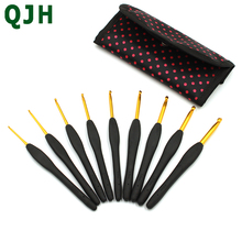 High Quality 9pcs/set TPR Silicone Soft Handle Aluminum Crochets Hook DIY Knitting Sweater Needle Home Crafts Tools With package