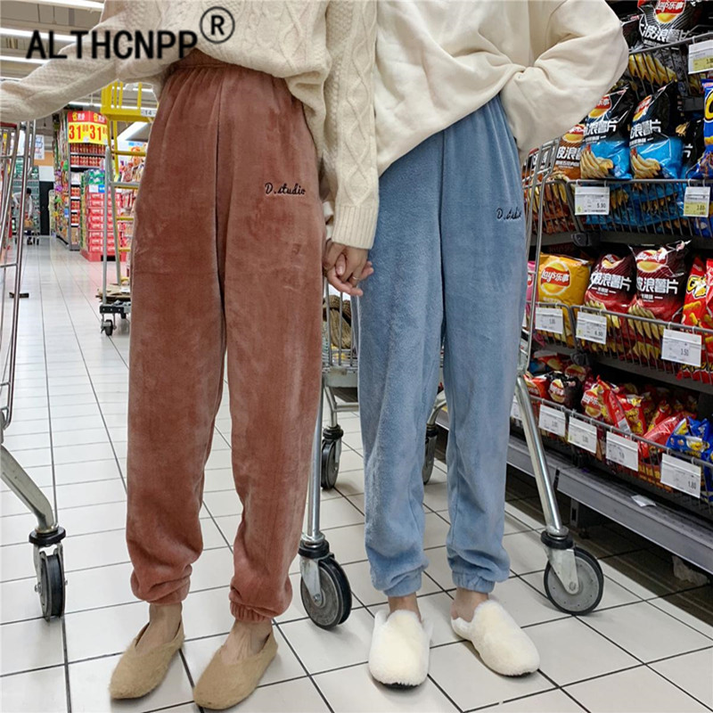 Warm Pajama Pants Elastic Waist Women Sleeping Trousers Winter Flannel Couple Lounge Pants Home Sleep Bottoms Pantalones Pijama