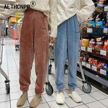 Warm Pajama Pants Elastic Waist Women Sleeping Trousers Winter Flannel Couple Lounge