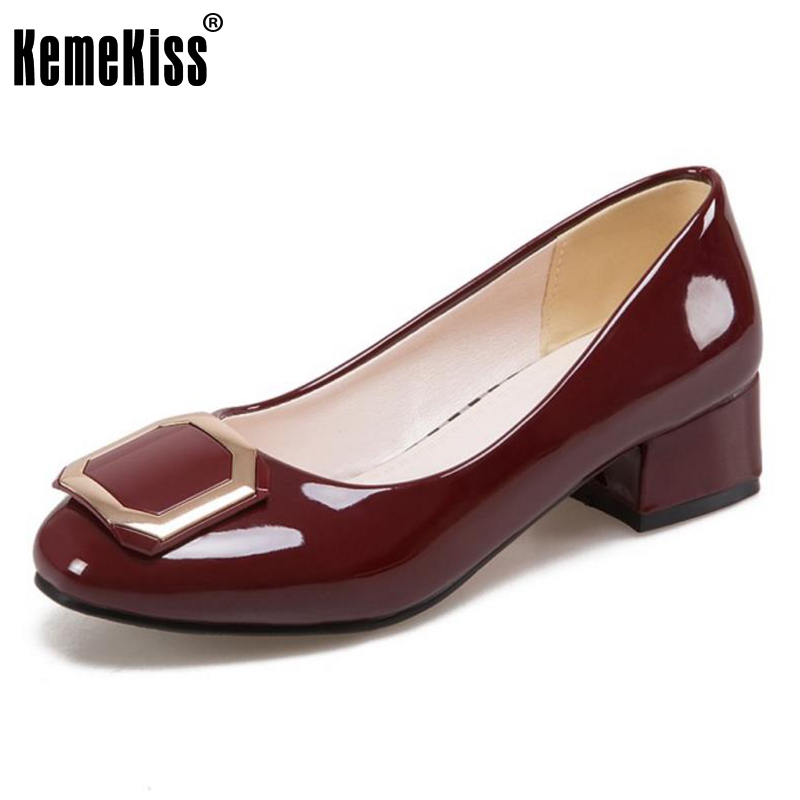 KemeKiss Size 32-45 Office Ladies High Heel Shoes Women Round Toe Metal Decoration High Heel Pumps Party Daily Female Footwears kemekiss size 33 42 women s high heel wedge shoes women cross strap platform pumps round toe casual mixed color ladies footwear