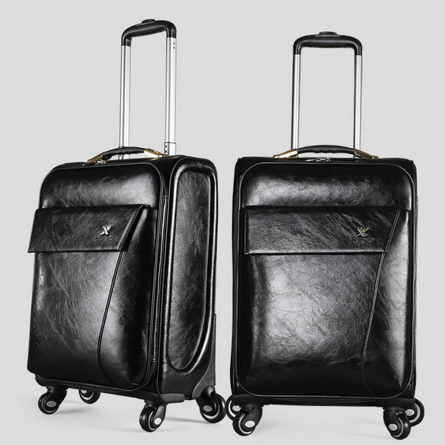 """Men and Women PU Leather Travel Suitcase Vintage Luggage Travel Bag Universal Wheels Trolley Luggage 20"""" 24"""" Rolling Luggage"""