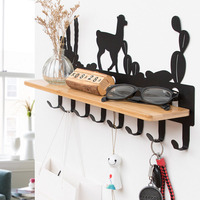iron& bamboo wall Hanger coat hat rack key hook bathroom shelf storage rack 8 hooks home furniture living room decoration