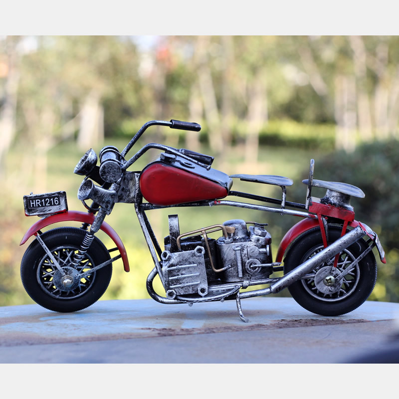Retro Tin Motorcycle Model Creative Gift Photo Props Motor Figurine Wrought Metal Crafts Home Decoration Bar Cafe Decor