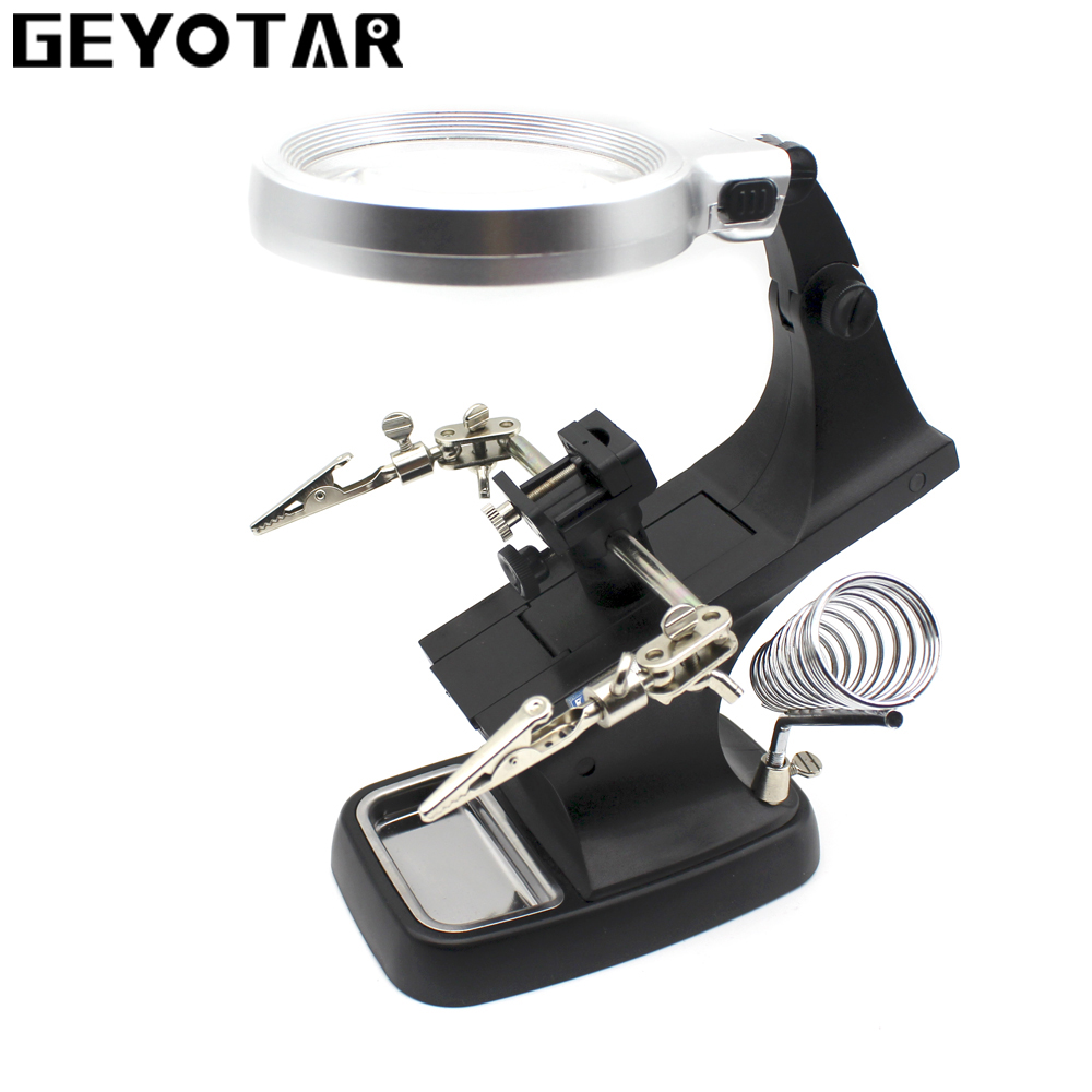 GEYOTAR LED Illuminated Desktop Magnifier Helping Hand Auxiliary Clamp Alligator Clip Stand 10 LED Lights Magnifying Glass 2 5x 4x third hand soldering illuminated loupe magnifying magnifier with led light auxiliary clamp alligator clip stand