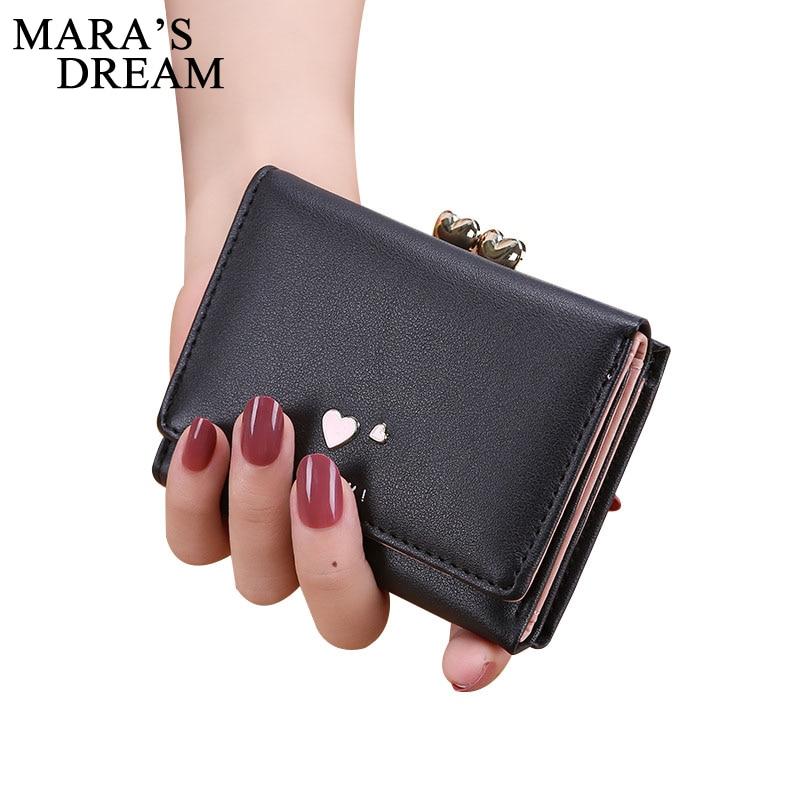 Mara's Dream 2018 PU Leather Bifold Women Wallets Heart Solid Color Short Desgin Female Women's Coin Purse Billfold Carteras Bag