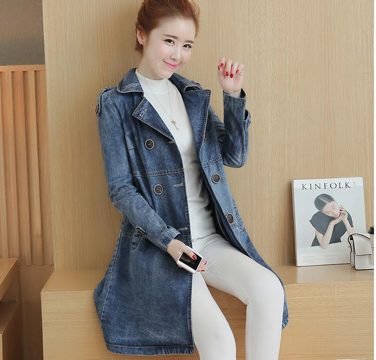 2018 Autumn New Arrival   Trench   Coat Women Double-Breasted Turn-Down Collar Medium Style Long denim Outwears