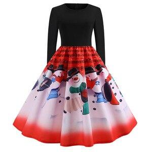 Image 4 - Sukienka vintage kobiety z długim rękawem druku sukienka świąteczna zima elegancki Swing Party sukienki szata Femme na co dzień Rockabilly Vestidos