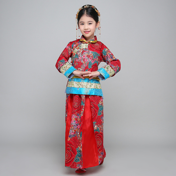 Chinese Folk Dance Costume Hanfu Suit Tang Dynasty National  Fairy Dress Children Ancient Vintage Xiuhe Bride Wedding Dress 2018 autumn kids chinese princess costume traditional dance costumes girls floral children folk ancient hanfu tang dynasty dress