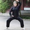 Высокое Качество Черный Китайских женщин Хлопок Кунг-фу Тай-Чи Костюм Ву шу Униформа Одежда XXS XS S M L XL XXL XXXL 2527-3