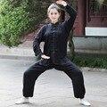 De alta Calidad Negro de Las Mujeres Chinas de Algodón Kung fu Tai Chi Traje Wu Shu Uniforme Ropa XXS XS S M L XL XXL XXXL 2527-3