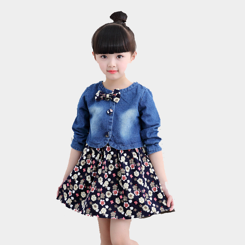 Baby Print Clothes Sets for Girls Clothing Set Cotton Kids Long Sleeve Coat+Sleeveless Dress Suits 2-8Y Children Spring Costumes new girls clothing baby girls dress long sleeve cotton princess caual dress kids outwear clothes children brand print star dress