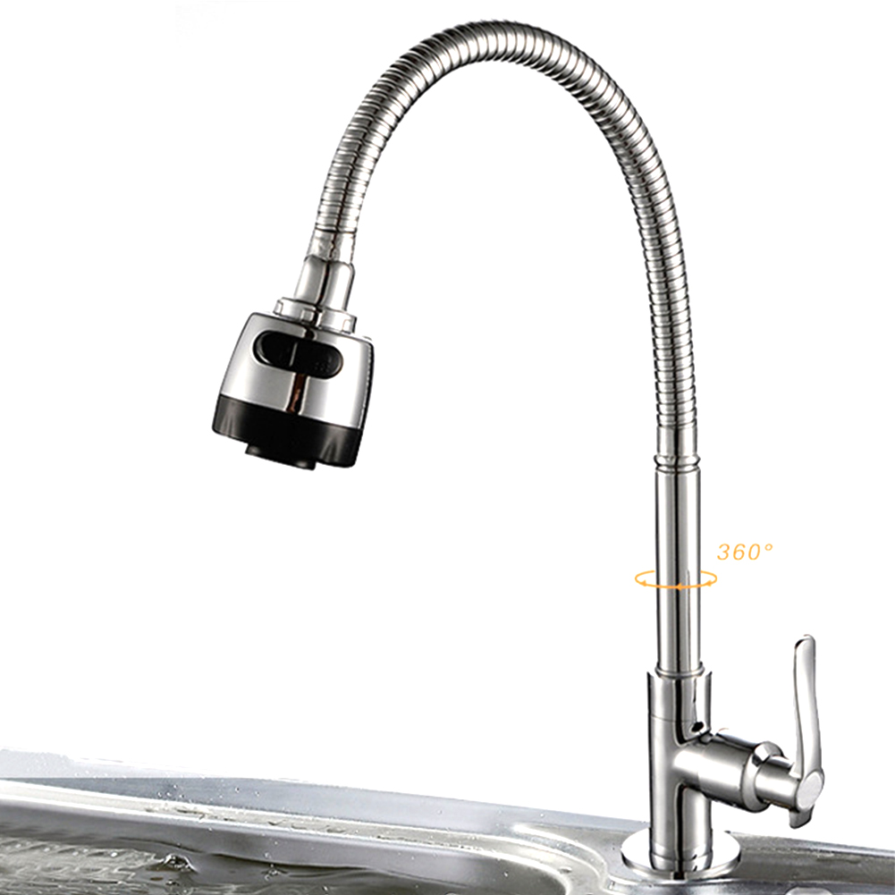Flexible Chrome Single Lever Faucet Deck Mounted Wall Mounted Cold Water Universal Rotatable Bathroom Kitchen Faucet