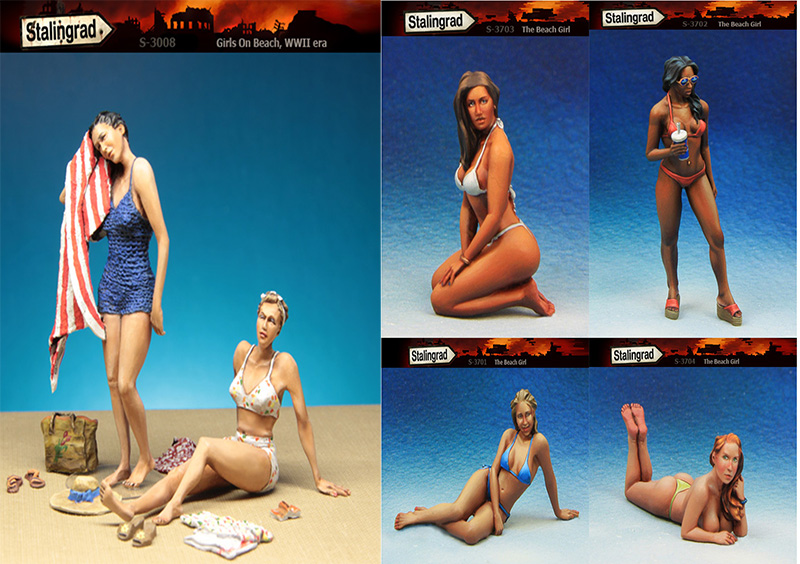 ФОТО Scale Models 1 35 summer beach girls include 6  figure uncolor WWII Resin Model