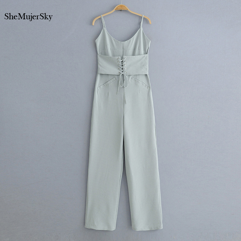 SheMujerSky Women Plaid Spaghetti Strap Jumpsuits Slim Backless Sleeveless Bandage Waist Long Jumpsuit Rompers
