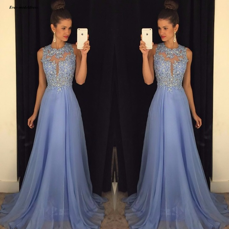 Light Blue Long   Bridesmaid     Dresses   Chiffon Lace 2019 O Neck Sexy Back Applique Beaded Illusion A Line Formal Wedding Guest Gowns