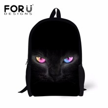 FORUDESIGNS Black Cat Printing School Bags for Kids Shoulder Backpack Student Large Book Bag Girls Preppy Bagpack Satchel