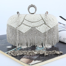 New Fashion High Quality Evening Bags Handmade Beaded Evening Bag Fashion Tassel Rhinestone Evening Bags with Shoulder Chain