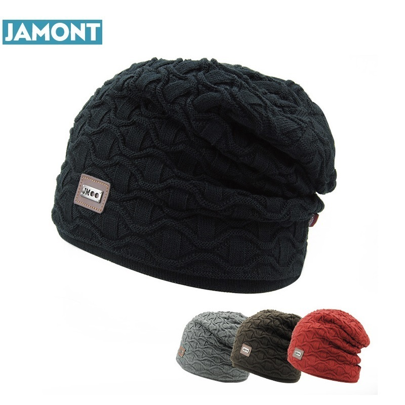 7050815642c94 JAMONT Men s fur lining Thicken Skullies Winter Wool Knitted Hat Male  Beanies Cap Casual Solid Color Simple Hats For Men