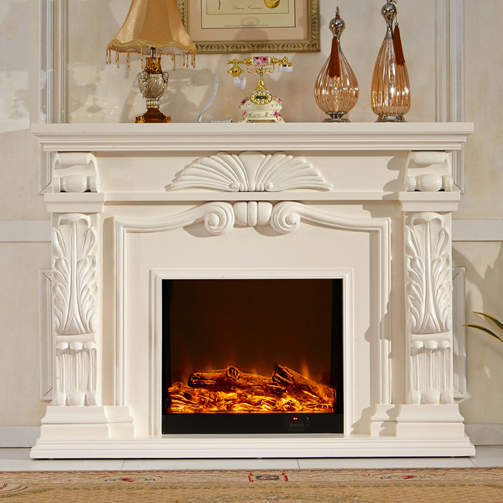English style fireplace set wood mantel W160cm electric ...