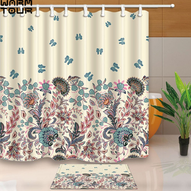 Warm Tour Pastel Blue Pink Beige Flowers And Butterfly