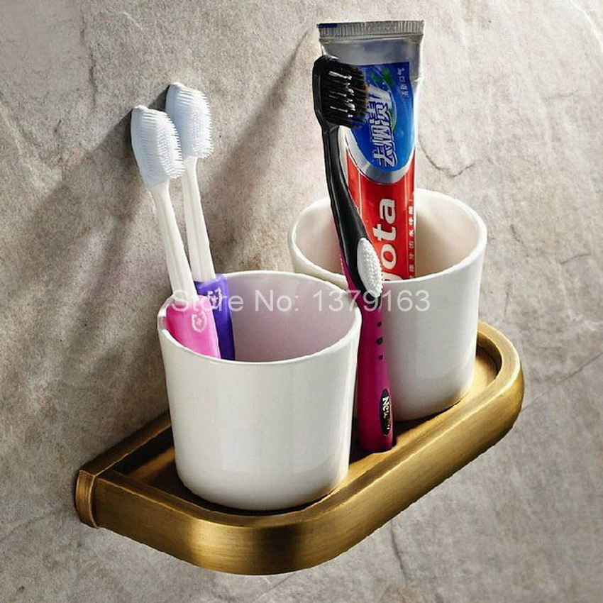 Retro Vintage Brass Bathroom Bath Tumbler Holder with Double Ceramics cup Wall Mounted aba177