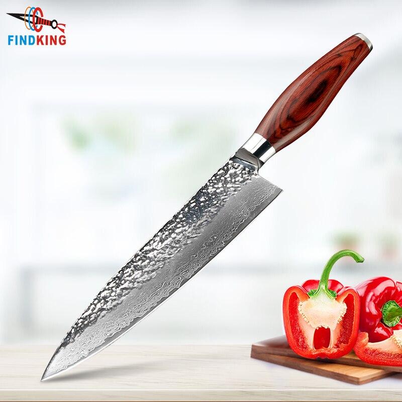 FINDKING nouvelle lame en acier damas couleur manche en bois forme de pierre 8 pouces couteau damas couteau chef 67 couches couteau en acier damas-in Couteaux de cuisine from Maison & Animalerie    1