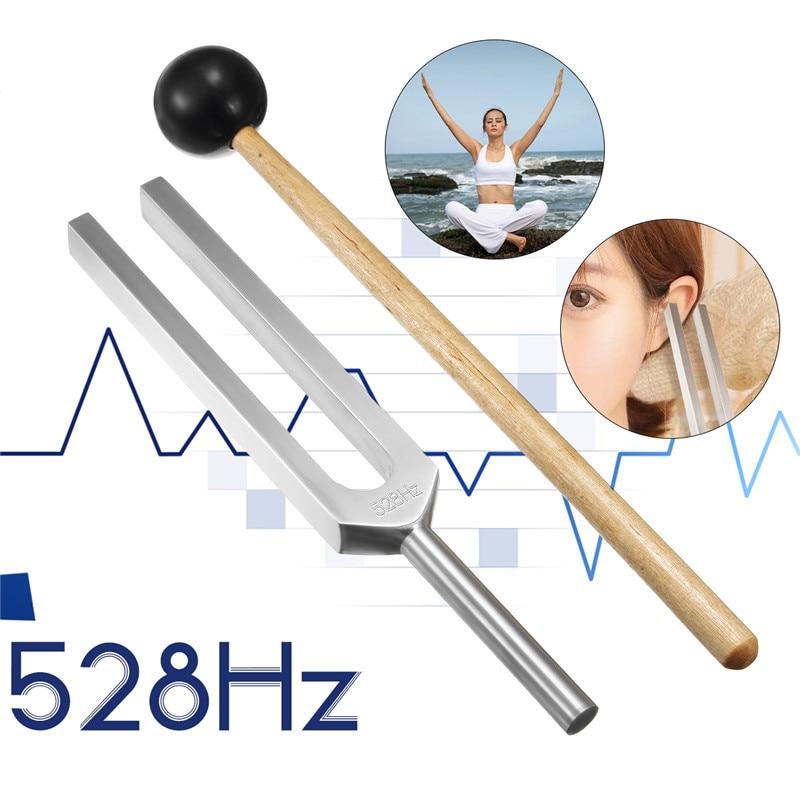 528 HZ de aleación de aluminio de la horquilla Chakra martillo con mazo de sonido terapia de curación para el oído médico de atención neurológica instrumento