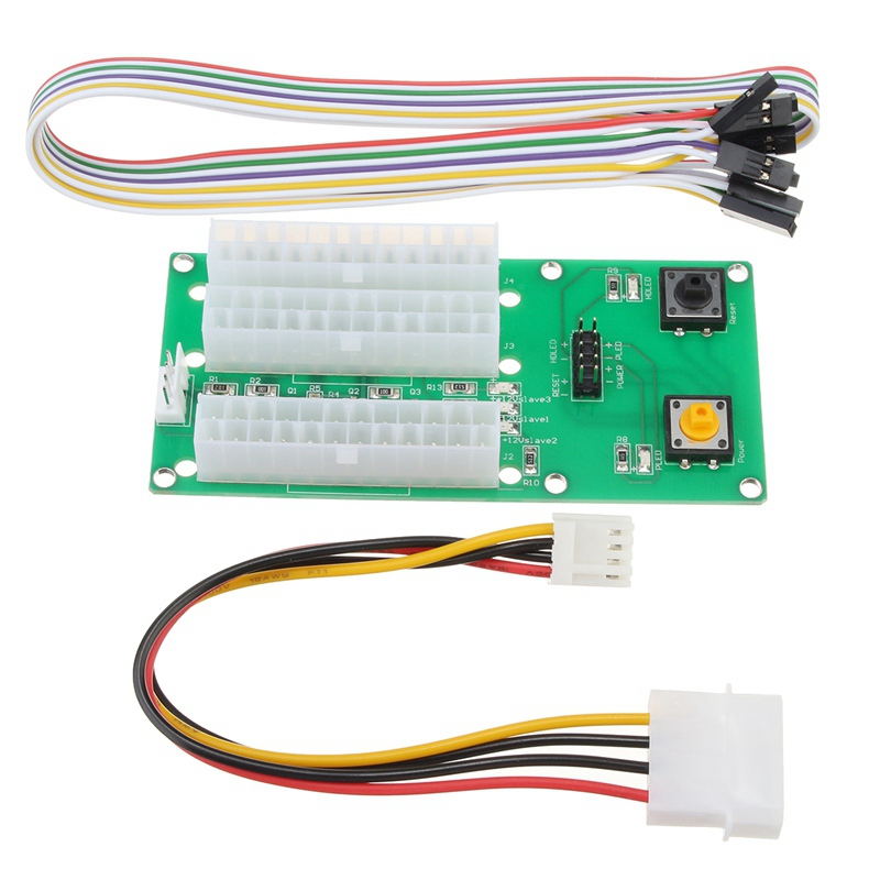 все цены на 3pcs Three Power Supply Synchronous Starter Board 4PIN IDE 24PIN Cable W/ Switch 2017 New Extender Cable Card For BTC Miner онлайн